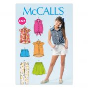 McCalls Childrens Easy Sewing Pattern 6951 Tops, Skirt, Shorts & Pants