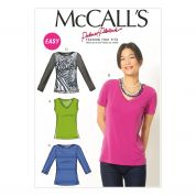 McCalls Ladies Easy Sewing Pattern 6964 Jersey T-Shirt Tops