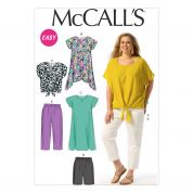 McCalls Ladies Plus Size Easy Sewing Pattern 6971 Top, Tunic, Dress, Shorts & Pants