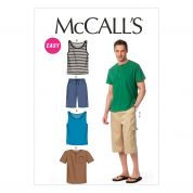 McCalls Mens Easy Sewing Pattern 6973 Tank Tops, T Shirts & Shorts