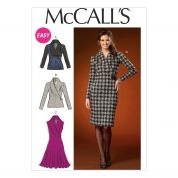 McCalls Ladies Easy Sewing Pattern 7016 Stretch Knit Tops & Dresses