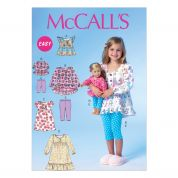 McCalls Childrens & Dolls Easy Sewing Pattern 7043 Tops, Dresses & Leggings
