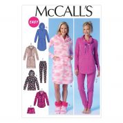 McCalls Ladies Easy Sewing Pattern 7061 Pyjamas, Night Dress & Slippers