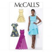 McCalls Ladies Sewing Pattern 7091 Party Dresses with Overlay Ruffle