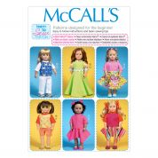 McCalls Learn to Sew Easy Sewing Pattern 7106 Doll Clothes Wardrobe