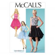 McCalls Ladies Sewing Pattern 7123 Full Skirt Party Dresses & Sash