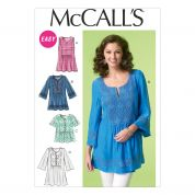 McCalls Ladies Easy Sewing Pattern 7128 Inset Panel Tunic Tops