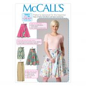 McCalls Ladies Easy Sewing Pattern 7129 Wrap Over Tie Skirts