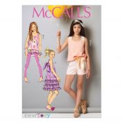 McCalls Girls Easy Sewing Pattern 7150 Top, Tunic, Dress, Shorts, Leggings & Headband
