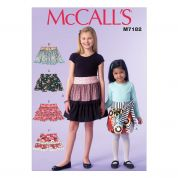 McCalls Girls Easy Sewing Pattern 7182 Gathered & Layered Skirts