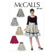 McCalls Ladies Easy Sewing Pattern 7197 Skirts in 6 Styles