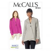 McCalls Ladies Easy Sewing Pattern 7201 Asymmetric Jackets