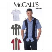 McCalls Mens Easy Sewing Pattern 7206 Short Sleeve Shirts