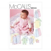 McCalls Baby Easy Sewing Pattern 7219 Snuggle Bags, Jumpsuits, Hats & Blanket