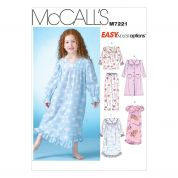McCalls Girls Easy Sewing Pattern 7221 Dressing Gown & Pyjamas