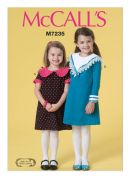 McCalls Girls Easy Sewing Pattern 7235 Dresses with Pretty Collars