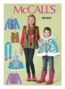 McCalls Girls Easy Sewing Pattern 7237 Waistcoat, Jacket, Cape & Scarf