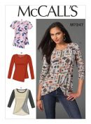 McCalls Ladies Easy Sewing Pattern 7247 Asymmetric Stretch Knit Tops