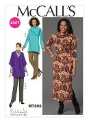 McCalls Ladies Easy Sewing Pattern 7263 Cardigan, Tunic Top, Dress & Pants