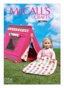 "McCalls Craft Easy Sewing Pattern 7268 18"" Dolls Sleeping Bag & Tent"