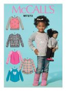 McCalls Girls & Dolls Easy Sewing Pattern 7273 Matching Sweater Tops