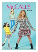 McCalls Girls Easy Sewing Pattern 7274 Top, Dress, Skirt & Leggings