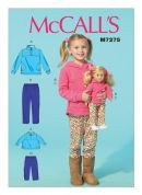 McCalls Girls & Dolls Easy Sewing Pattern 7275 Matching Tops & Pants