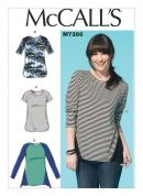 McCalls Ladies Easy Sewing Pattern 7286 Panelled Jersey Knit Tops