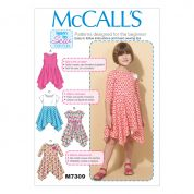 McCalls Girls Easy Learn to Sew Sewing Pattern 7309 Handkerchief Hem Dresses