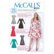 McCalls Ladies Easy Learn to Sew Sewing Pattern 7313 Flared Dresses