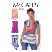 McCalls Ladies Easy Sewing Pattern 7323 Asymmetrical Seam Detail Tops