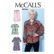 McCalls Ladies Easy Sewing Pattern 7324 Half Placket Tops & Tunic