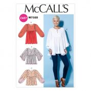 McCalls Ladies Easy Sewing Pattern 7325 Gathered Blouse Tops & Tunics