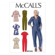 McCalls Ladies Sewing Pattern 7330 Button Up Rompers & Jumpsuits