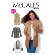 McCalls Ladies Easy Sewing Pattern 7332 Open Front Waistcoat & Jackets