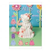 McCalls Toddlers Easy Sewing Pattern 7342 Back Bow Dresses, Panties, Leggings & Bucket Hat