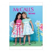 McCalls Girls Easy Sewing Pattern 7343 Contrast Bodice Dresses