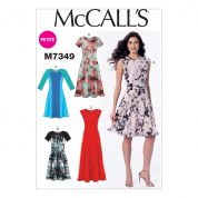 McCalls Ladies Petite Sizes Easy Sewing Pattern 7349 Fit & Flare Dresses