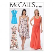 McCalls Ladies Easy Sewing Pattern 7350 Gathered Scoop Neck & Surplice Dresses