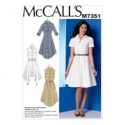 McCalls Ladies Easy Sewing Pattern 7351 Shirtdresses with Pockets & Belt
