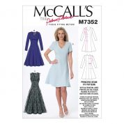 McCalls Ladies Easy Sewing Pattern 7352 Jewel & V-Neck Fit & Flare Dresses