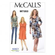 McCalls Ladies Easy Sewing Pattern 7353 Raised Elastic Waist Top & Dresses
