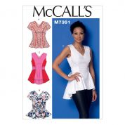 McCalls Ladies Easy Sewing Pattern 7356 V Neck Fit & Flare Tops