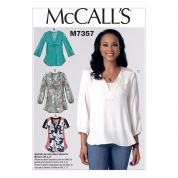 McCalls Ladies Easy Sewing Pattern 7357 Banded Tops with Yoke