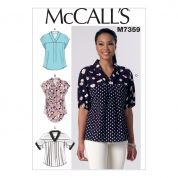 McCalls Ladies Easy Sewing Pattern 7359 V Neck Dolman Sleeve Tops