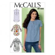 McCalls Ladies Easy Sewing Pattern 7360 Henley Tops