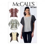 McCalls Ladies Easy Sewing Pattern 7361 Square & V Neck Pullover Tops