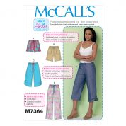 McCalls Ladies Easy Learn to Sew Sewing Pattern 7364 Drawstring Shorts & Pants with Pockets