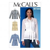 McCalls Ladies Easy Sewing Pattern 7365 Safari Style Collared Waistcoat, Jackets & Belt