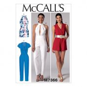 McCalls Ladies Easy Sewing Pattern 7366 Rompers, Jumpsuits & Belt